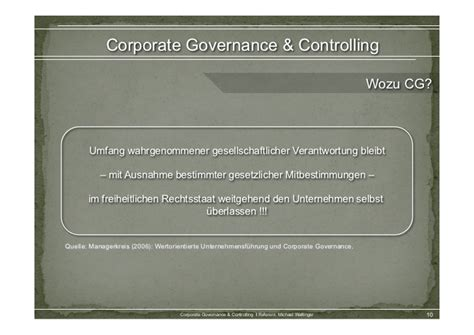 Corporate Governance & Controlling
