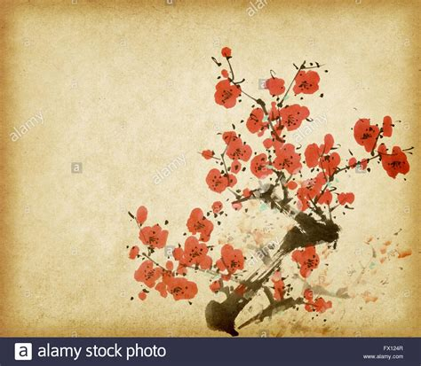 Traditional chinese painting Spring plum blossom on Old