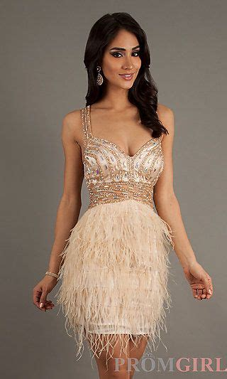 Open Back Short Feather Dress for Homecoming at PromGirl
