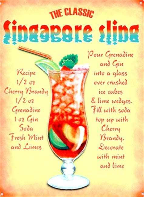 The Classic Singapore Sling, Cocktail Recipe Tin Sign