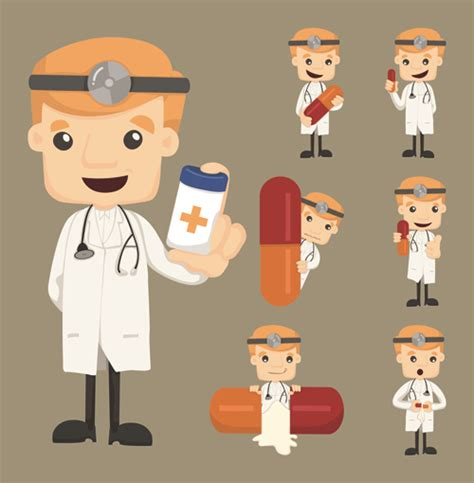 Funny doctor character vectors graphics 04 free download