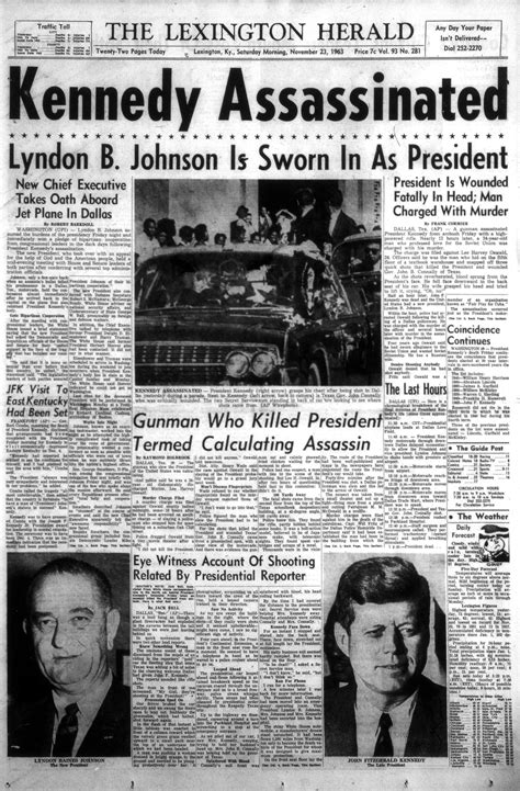 Front page about JFK assassination, 1963 | Kentucky Photo