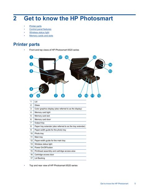 Get to know the hp photosmart, Printer parts, 2get to know