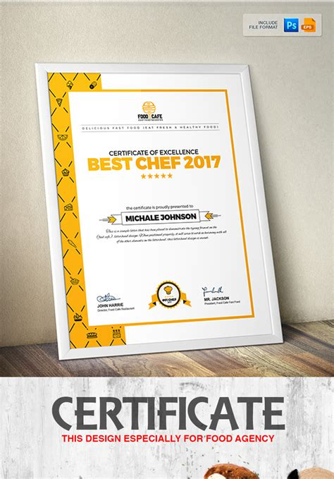 Certificate Design Template for Best Chef Fast Food and