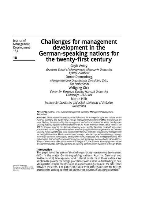 (PDF) Challenges for management development in the German